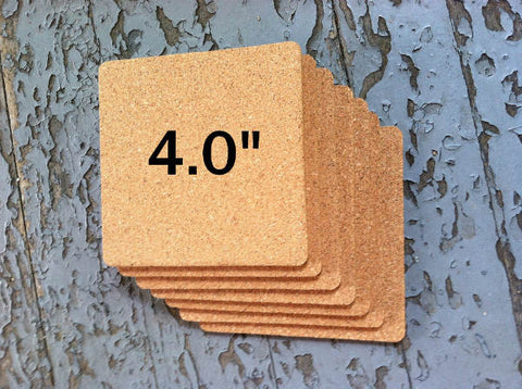 "4.0"" SQUARE Cork Coasters, 1/8"" Thick"