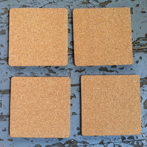 4.0 inch SQUARE blank cork coasters