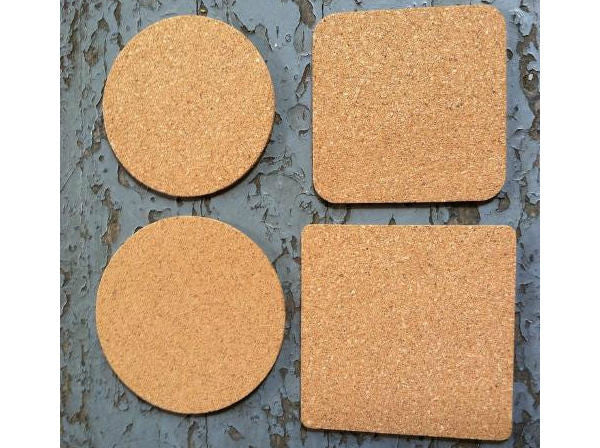 Sample pack of blank cork coasters