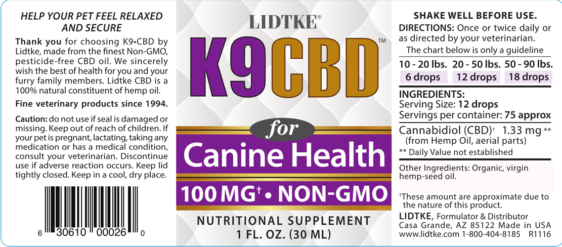 K9 CBD product label