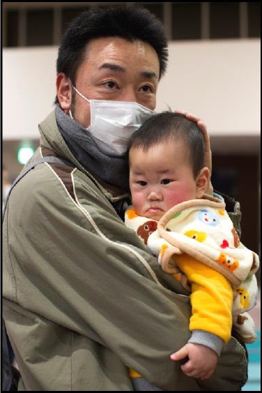 Japanese man with his son