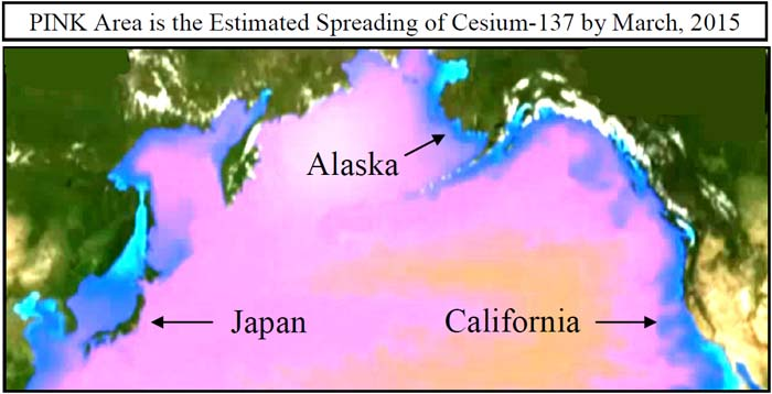 PINK area is estimated spreading of Cesium-137 by March, 2015 (Japan, Alaska, California)