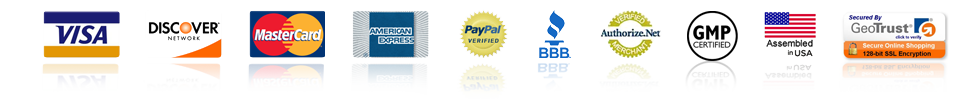 Visa - Discover - MasterCard - American Express - PayPal - BBB - Authorize.net - NSF GMP - Made in USA - GoDaddy Secured