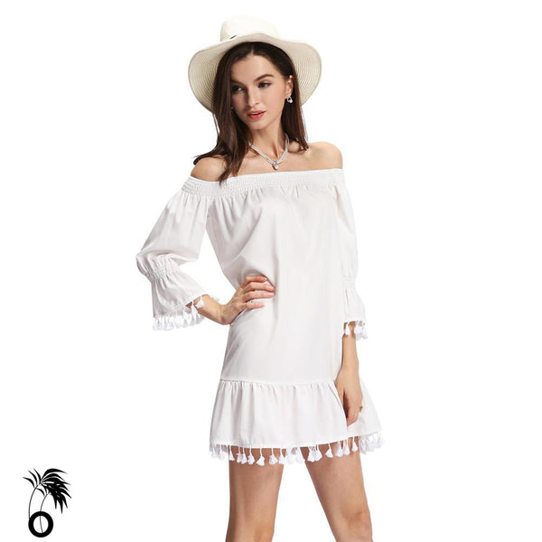 Robe blanche femmes encolure extensible