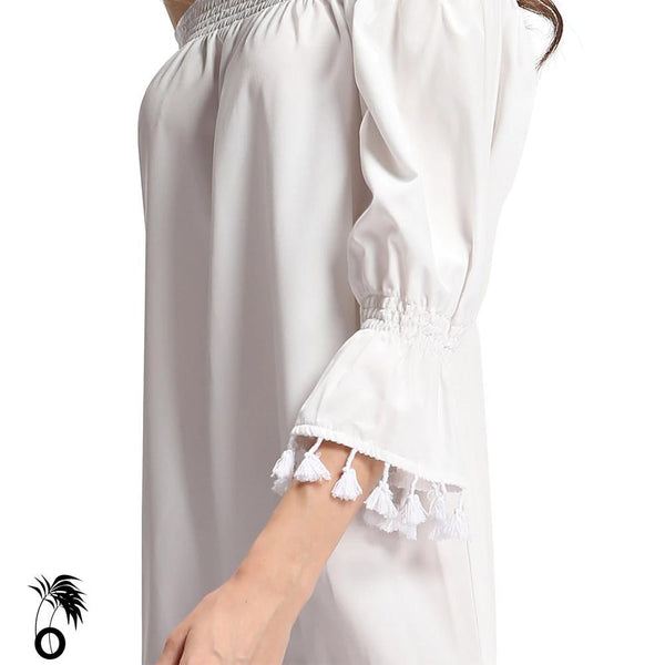 Robe blanche femmes encolure extensible Mary