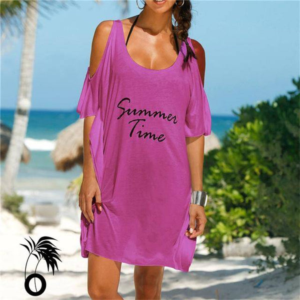 Robe de plage T Shirt Summer time rose larobedeplage.fr