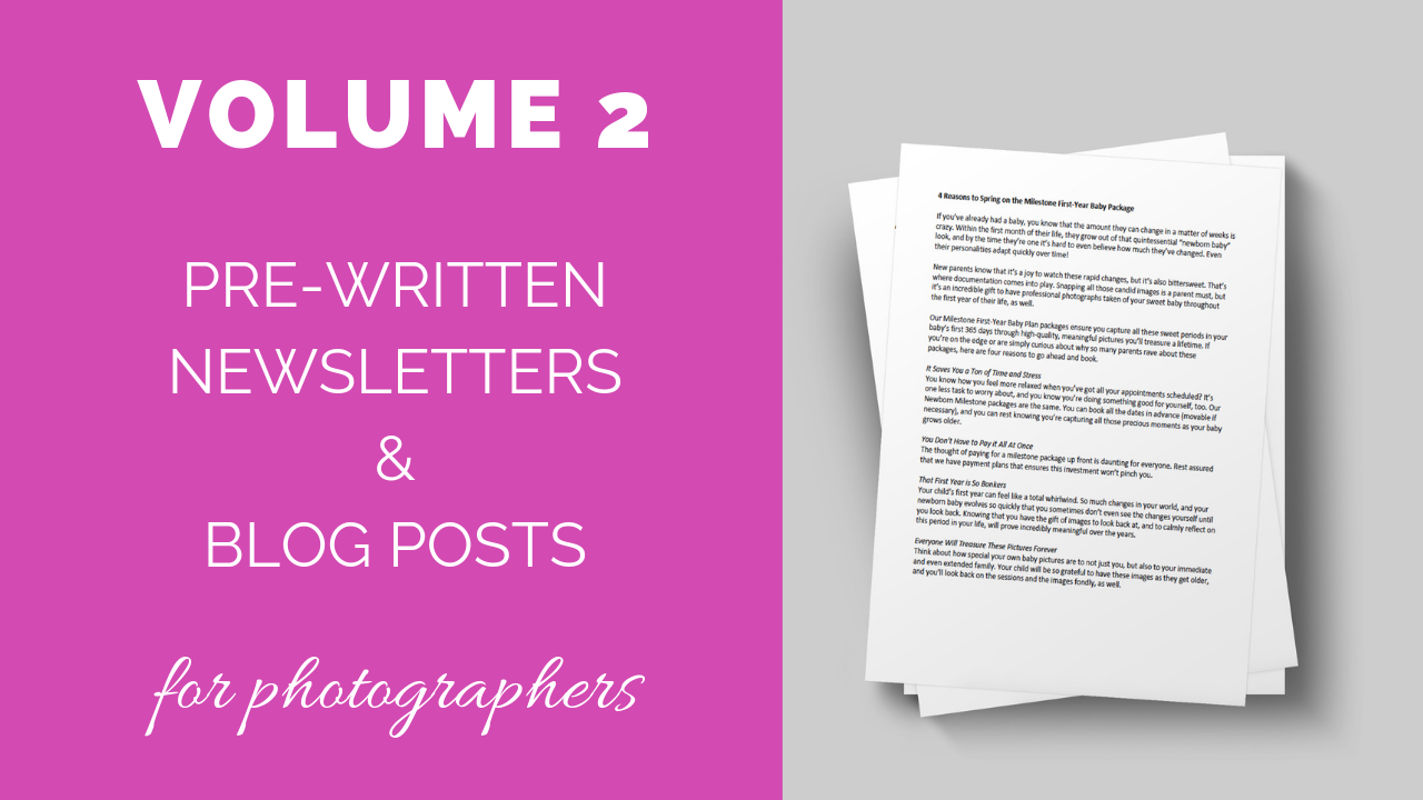 Volume 2! Newsletter & Blog Content Articles for Photographers