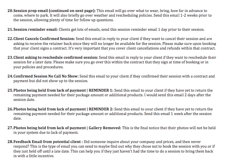 Photographer Emails Made Easy