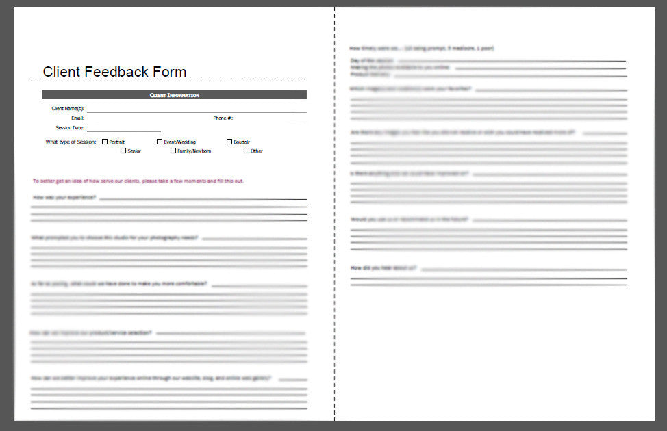 Client Feedback Form  BpU Guides
