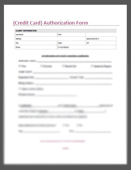 Credit Card Authorization Form – Credit Card Authorization Form