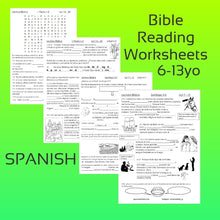 Load image into Gallery viewer, ESPANOL June 6-13 años Bible Reading Worksheets PDF