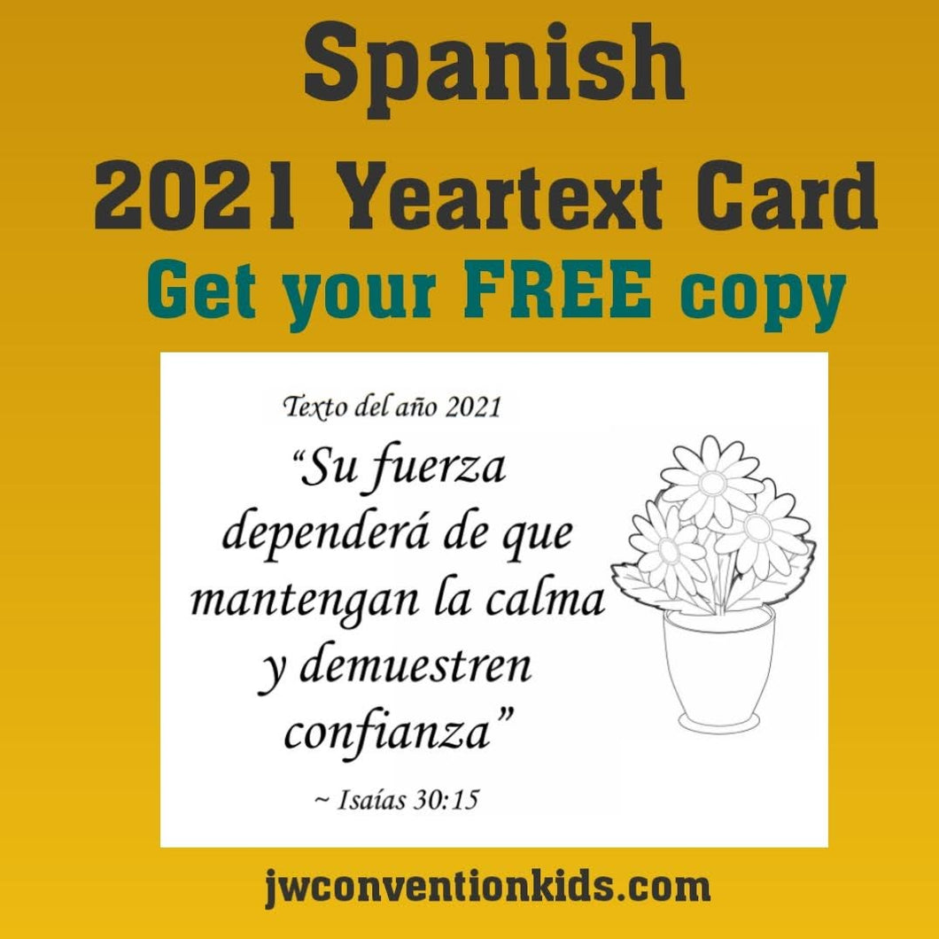 FREE Spanish 2021 Year Text Card