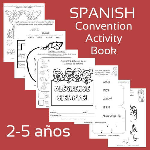 "SPANISH PDF 2020 ""Always Rejoice!"" Convention Activity Book for 2-5 year old."