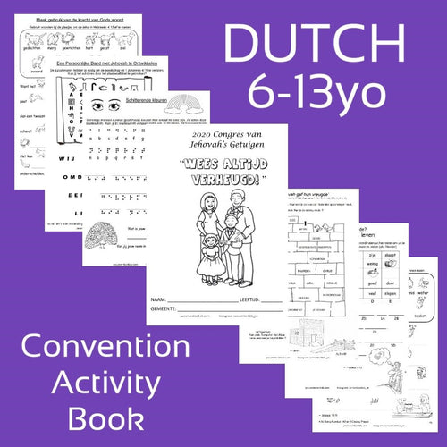"PDF DUTCH 2020 ""Always Rejoice!"" Convention Activity Book for 6-13 year old."