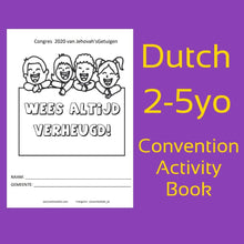 "Load image into Gallery viewer, PDF DUTCH 2020 ""Always Rejoice!"" Convention Activity Book for 2-5 year old."