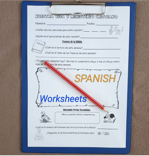 ESPANOL Kids Meeting Worksheet & Service Notes PDF