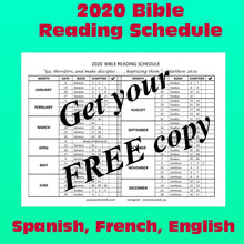 Load image into Gallery viewer, FREE 2020 Bible Reading Schedule (English, Spanish & French) PDF