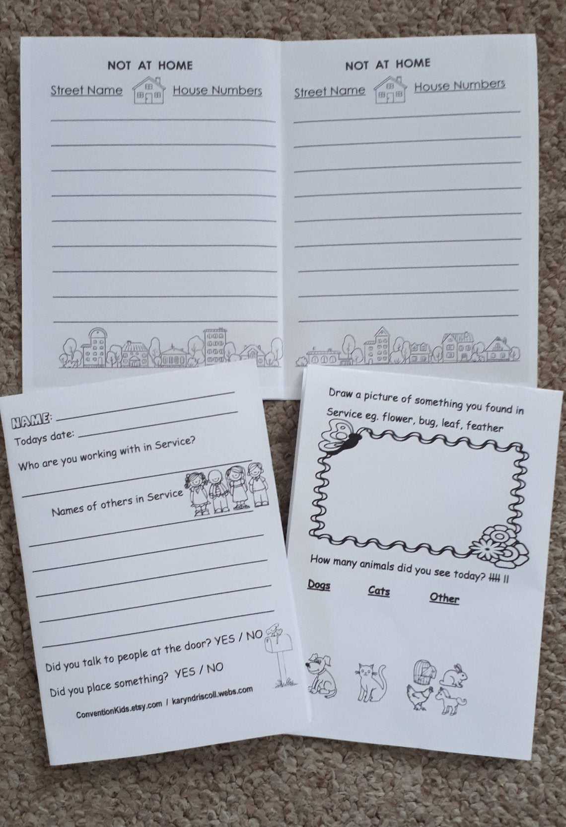 Meeting Worksheet & Service Notes for kids PDF – Convention Kids