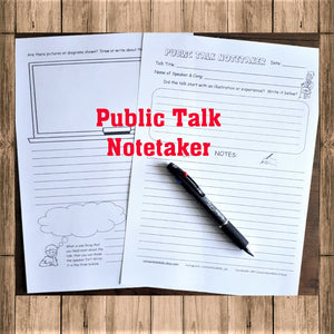 Public Talk Notetaker for Weekend Meetings PDF
