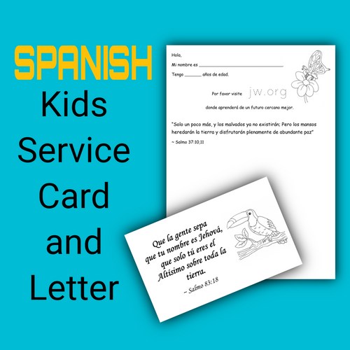 SPANISH Service card for kids