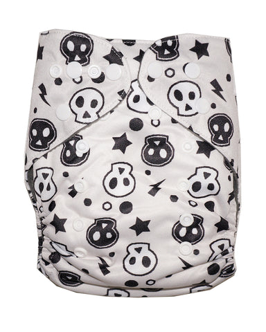 Gen2 - Black and White Skulls Cloth Diaper