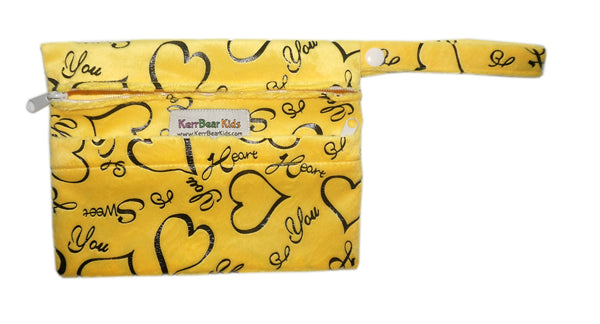 Yellow Minky Hearts Menstrual Pad (Purse Size) Zippered Wet Bag