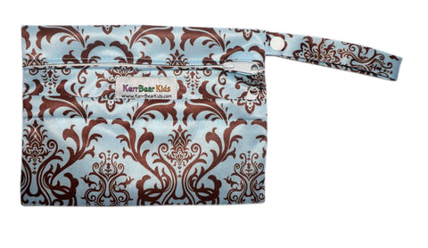 Blue/Brown Damask Menstrual Pad (Purse Size) Zippered Wet Bag
