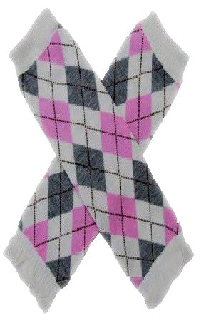 White Grey & Pink Argyle print Leg Warmers