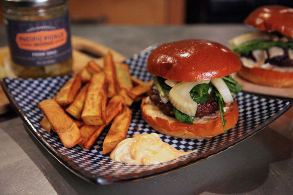 Fenn Shui Burger with Japanese Sweet Potato Fries