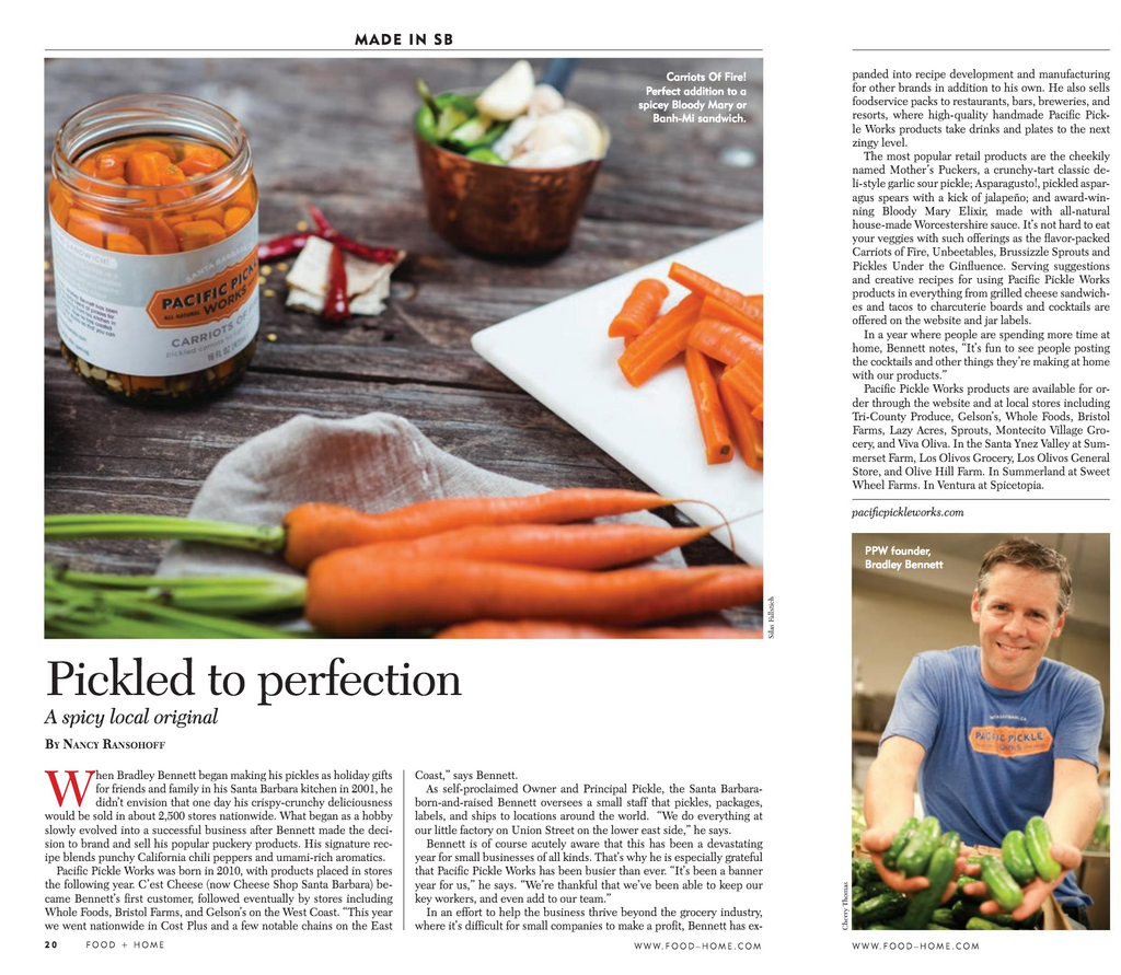 Pickled to Perfection - Pacific Pickle Works founder Bradley Bennett featured in Food & Home Magazine