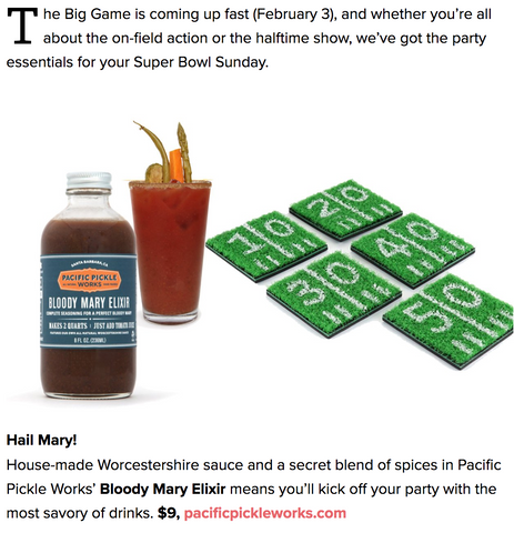 Parade Magazine picks Pacific Pickle Works' Bloody Mary Elixir for Superbowl 2019