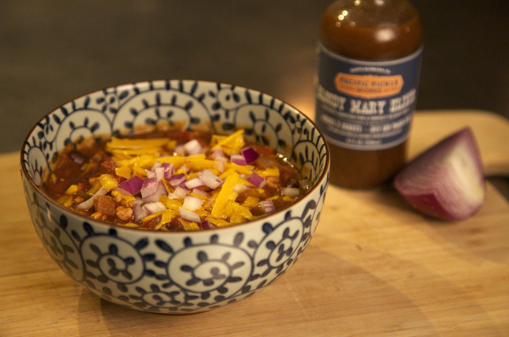 Homemade chili recipe featuring Pacific Pickle Works Bloody Mary Elixir