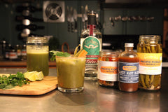 """Grinchy Mary"" featuring Pacific Pickle Works Bloody Mary Elixir and Jalabeaños"