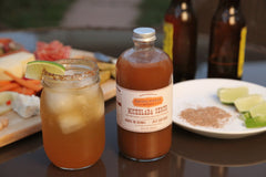 Spicy, tangy Michelada featuring Pacific Pickle Works Michelada Shrub