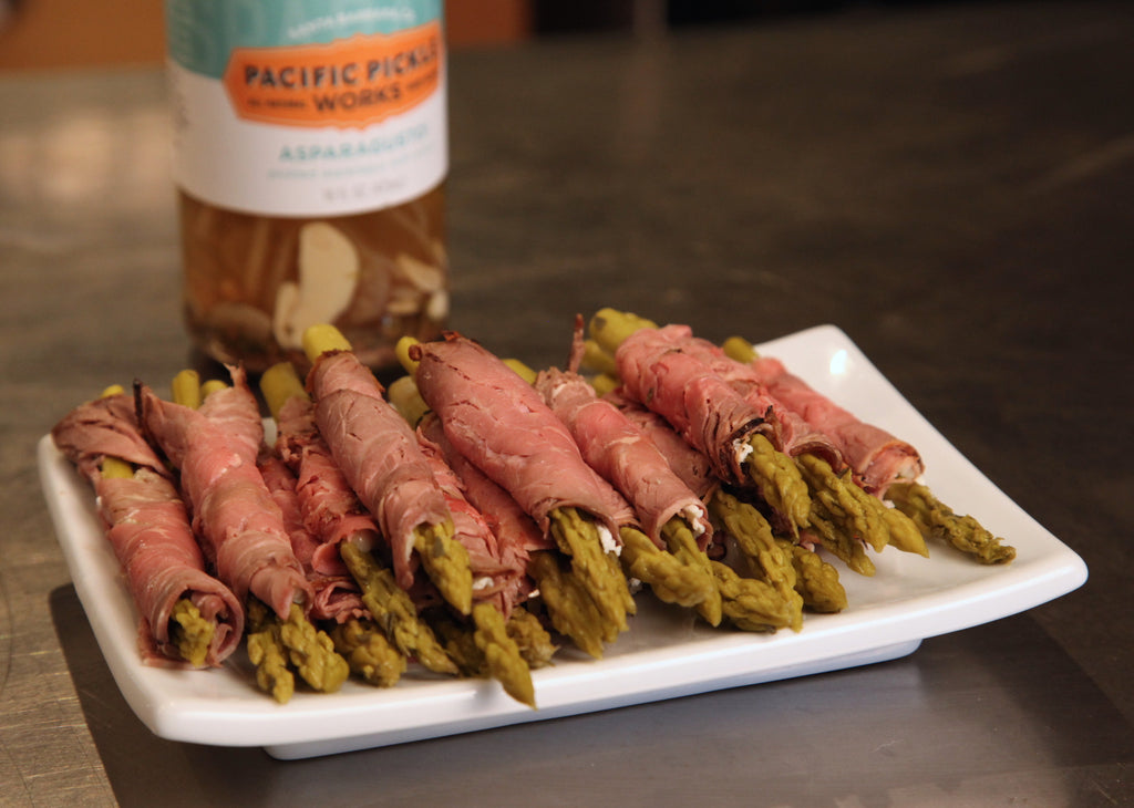 Smoked Tri-tip Wrapped Pickled Asparagus featuring Pacific Pickle Works' Asparagusto