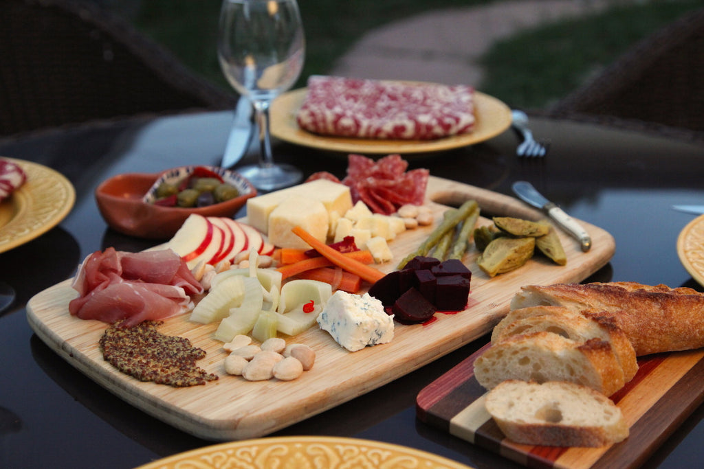 Charcuterie plate featuring Pacific Pickle Works' pickled vegetables