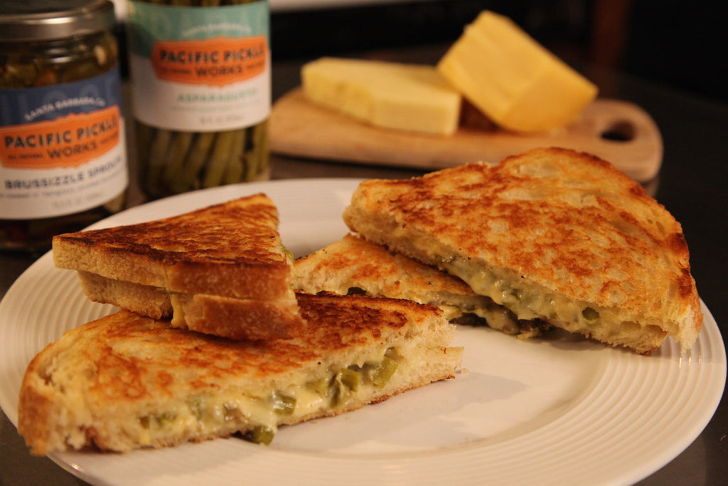 More Gouda Pickle Grilled Cheese Sandwich featuring Pacific Pickle Works' Asparagusto and Brussizzle Sprouts