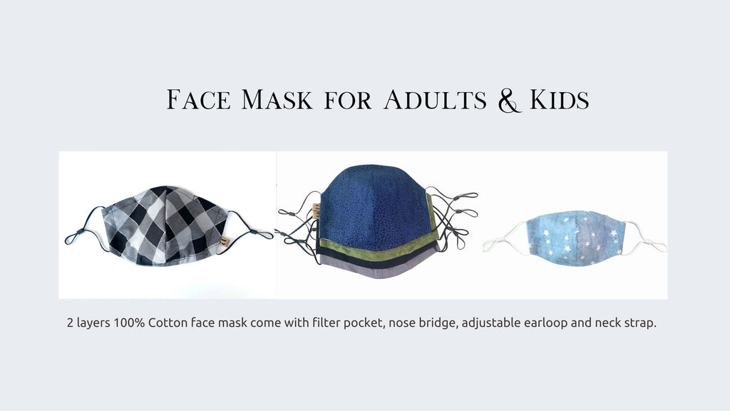 reusable face mask with filter pocket for women, men and kids