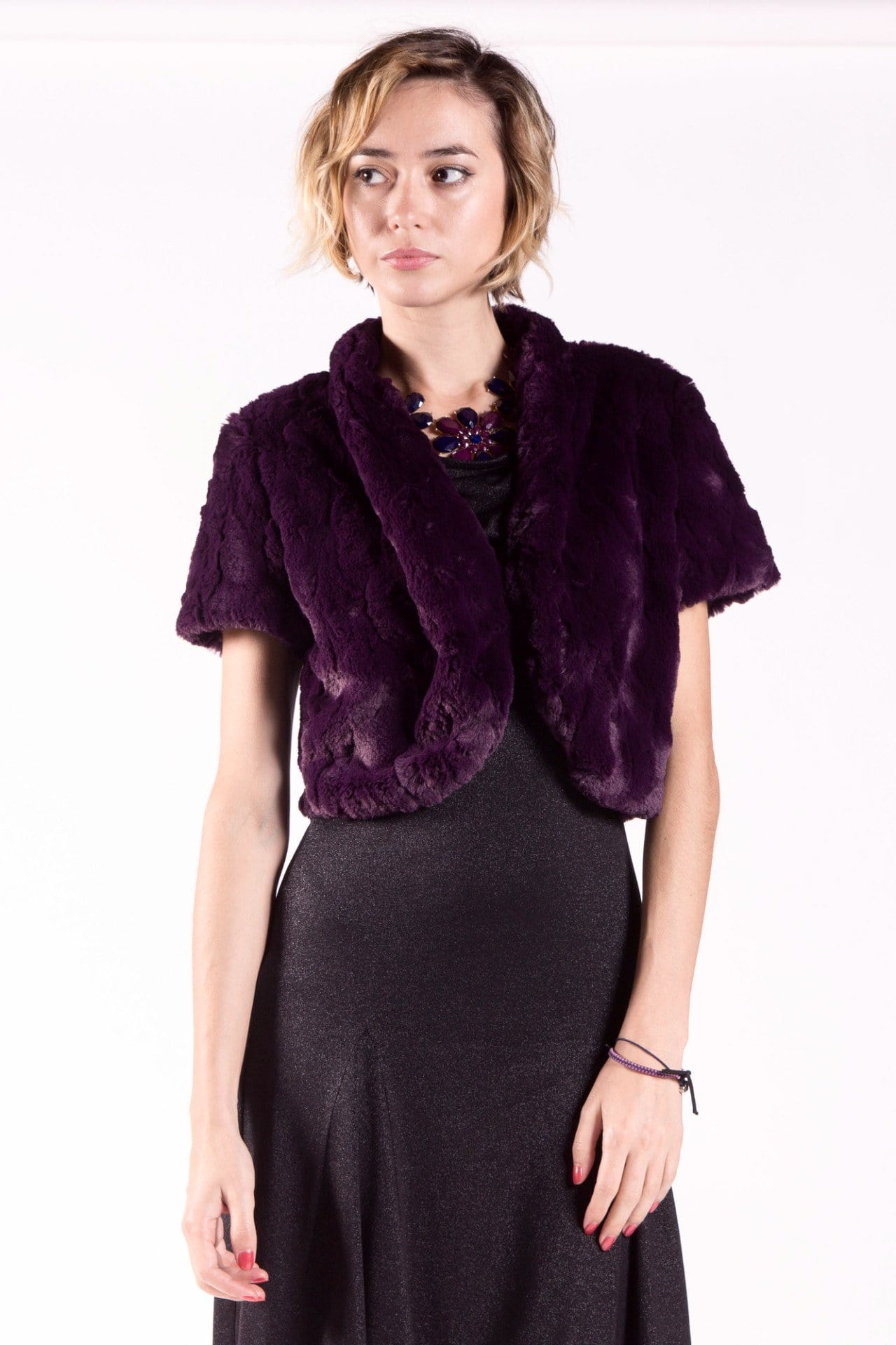 Faux Fur Cap Sleeve Crop Style Bolero Jacket with Hook Closure
