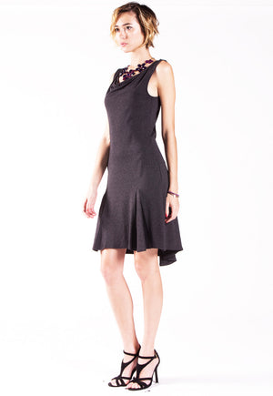 Black tango dress with godet back.