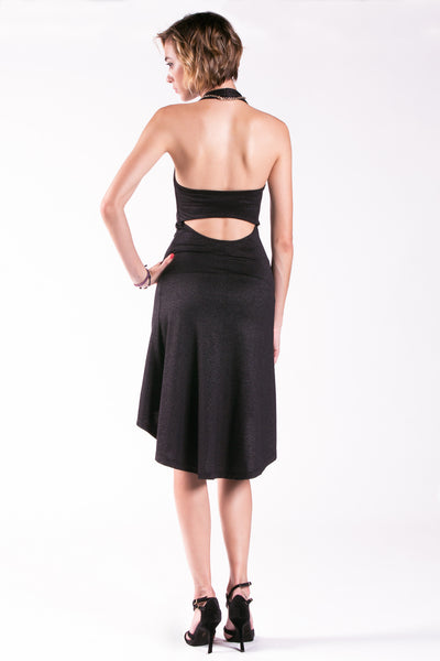 black halter tango dress