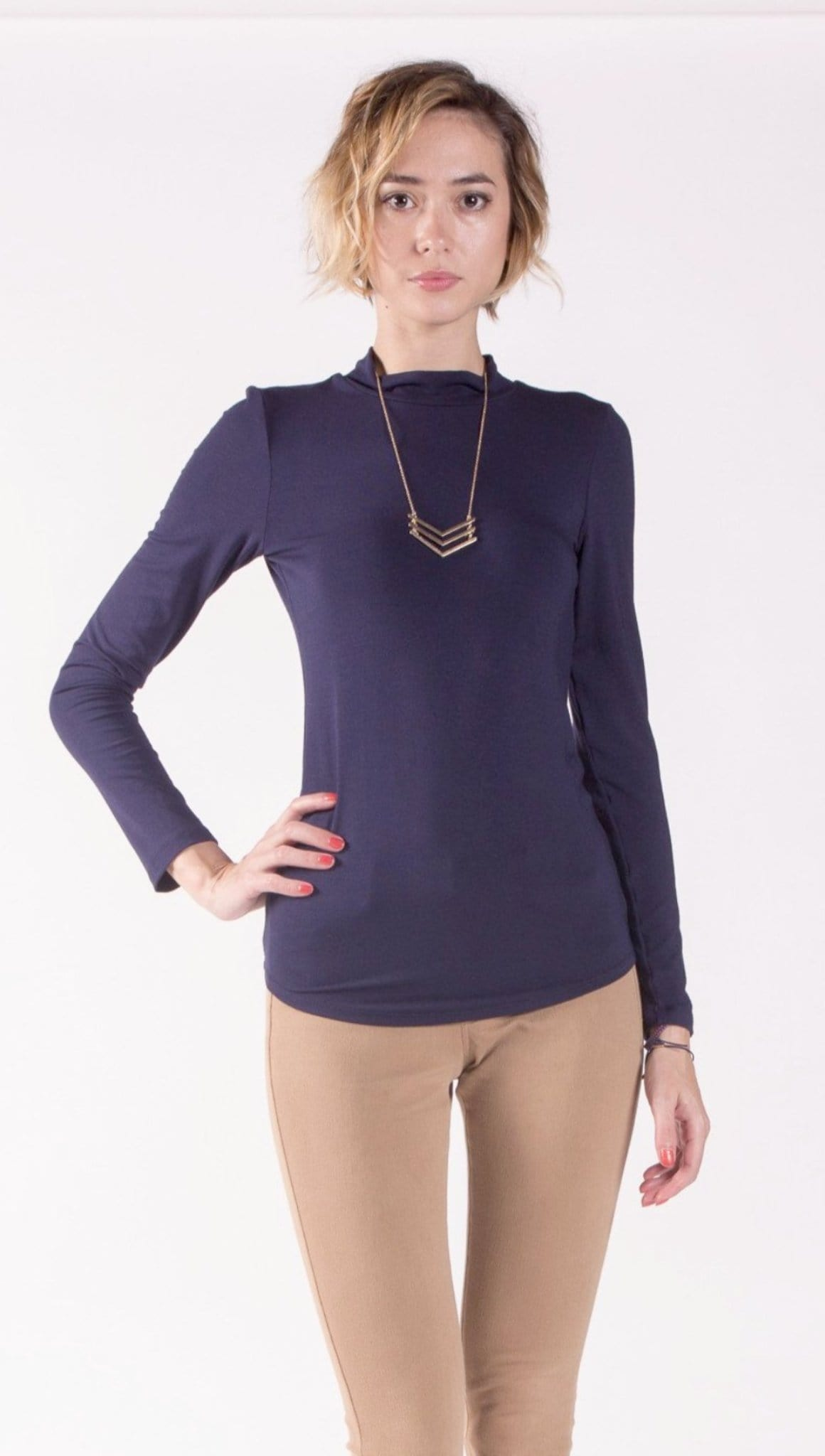 Fitted Long Sleeve Mock Neck Top in Soft Modal Jersey.