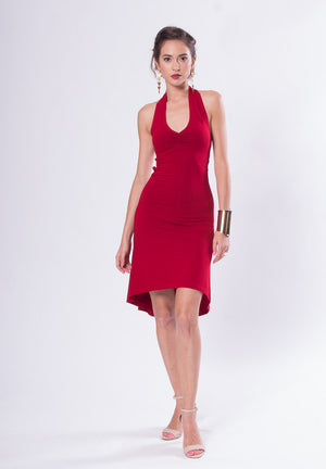 red halter tango dress