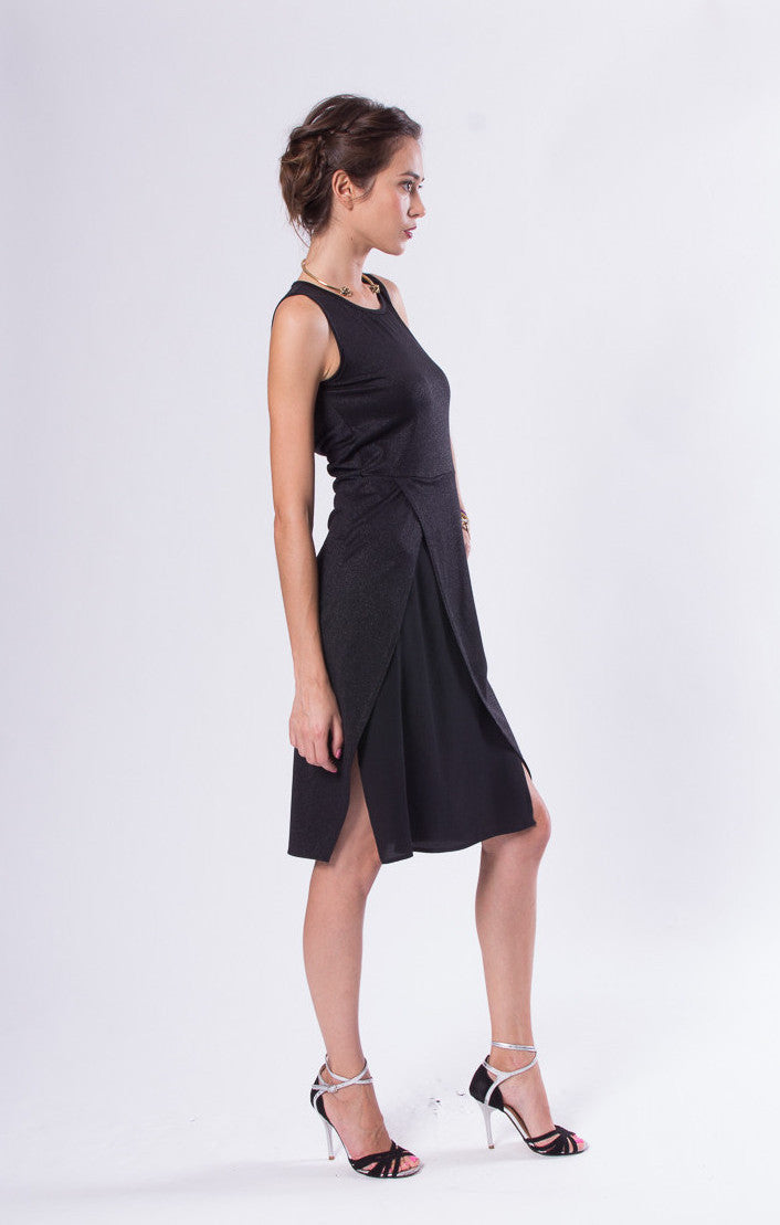 Bella Midi Dress with Two Tone Overlay Dress Bottom