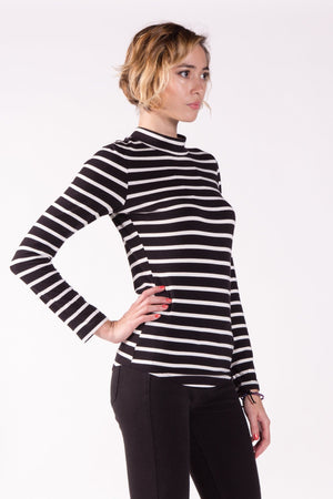 Fitted Long Sleeve Mock Neck Top in Modal Jersey