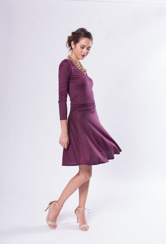 Fiore Long Sleeve V-neck Flare Dress