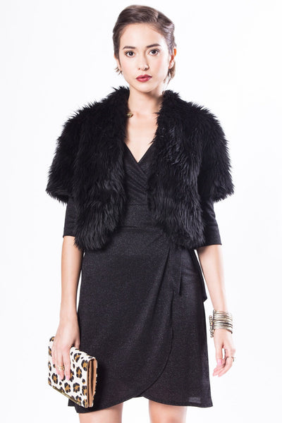 Fitted Cap Sleeve Black Faux Fur Bolero Shrug
