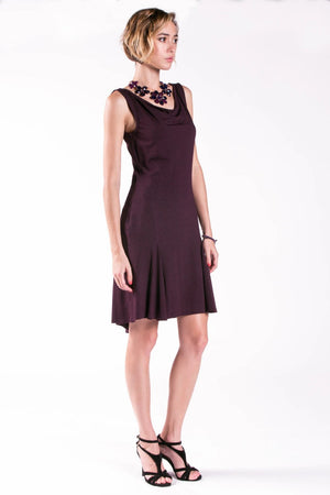 Ana Sleeveless Tango Dress with Cowl Neck and Godet Back