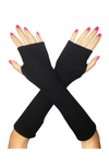 Long Cotton Fingerless Gloves Black UV Protected Block UV Rays