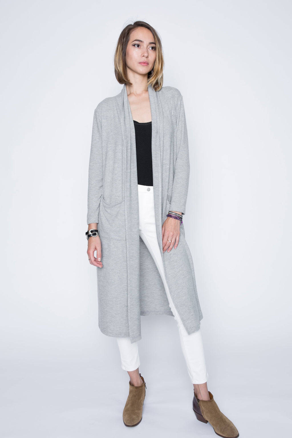 New! Long Sweater Cardigan with Shawl Collar